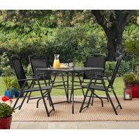 Mainstays Heritage Park Outdoor Patio 5 Piece Dining Set, 4 person seating, Black