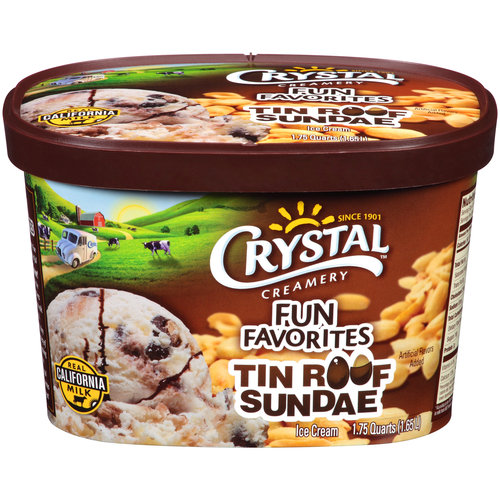 Crystal Creamery Tin Roof Sundae Ice Cream, 1.75 quarts