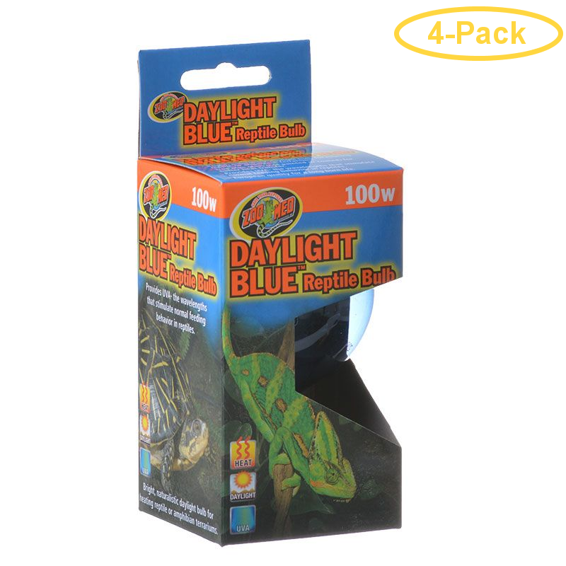 Zoo Med Daylight Blue Reptile Bulb 100 Watts Pack Of 4