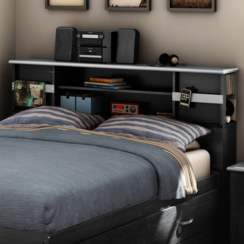 "South Shore Cosmos Full 54"" Bookcase Headboard, Black Onyx/Charcoal"
