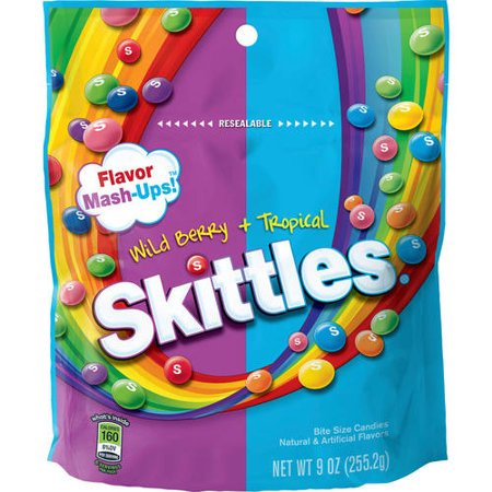 (4 Pack) Skittles, Bite Size Flavor Mash-Ups! Wild Berry + Tropical Candies, 9 Oz for $<!---->