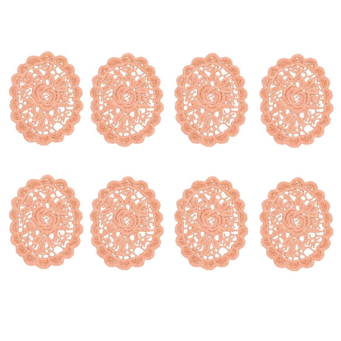 Home Cotton Blends Oval DIY Dress Sweater Lace Trim Applique Light Pink 8pcs