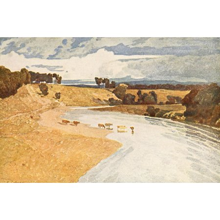 British Water Colour Painting 1908 Landscape with River Poster Print by  John Sell Cotman ()