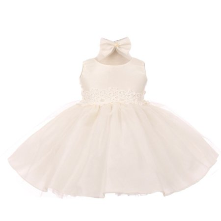 Good Girl Baby Girls Off-White Tulle Adorned Flower Girl Dress 6-24M