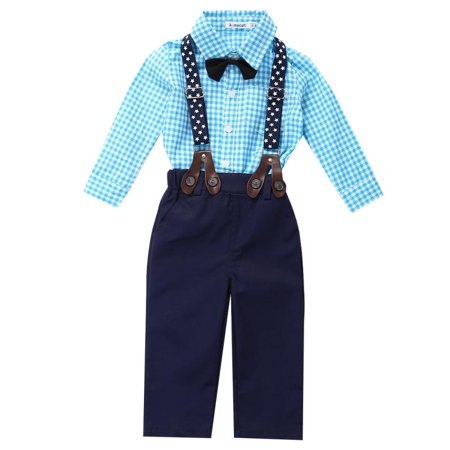 bbee8bf4 Emmababy - Newborn Kids Baby Boy Bow Tie Plaid Shirt+Suspender Pants  Trousers Outfit Set - Walmart.com