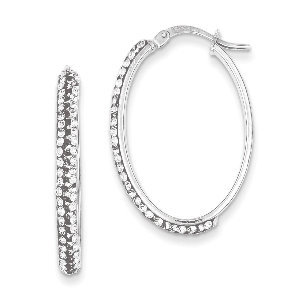 Sterling Silver Stellux Crystal Hoop Earrings (1.1IN x 0.7IN )