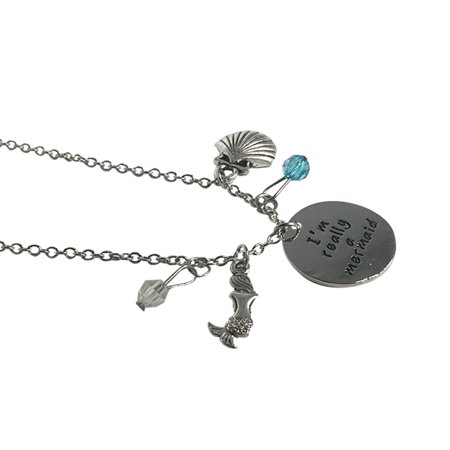 I'm Really A Mermaid Charm Necklace Little Silver Jewelry Pendant Seashell Ocean
