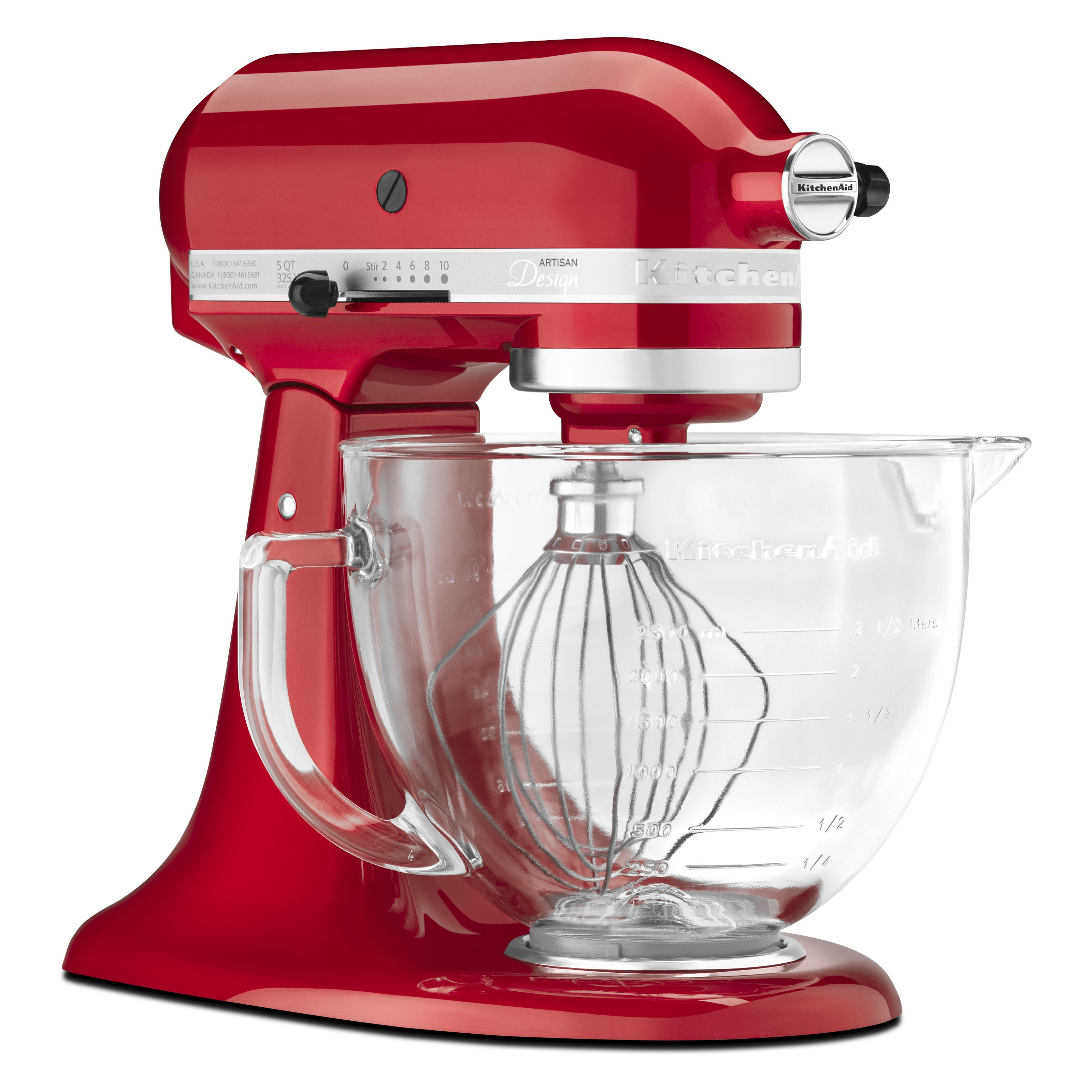 Kitchen aid heavy duty - Kitchenaid Ksm155gbca Artisan Design Series Stand Mixer With Glass Bowl Candy Apple Red Walmart Com