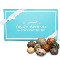 Andy Anand Belgium Chocolate Candy Pebbles looks like real Maine Coast Pebbles. Delicious & Divine Gift Box & Greeting Card Birthday Valentine Christmas Holiday Gifts Mothers Fathers Day Get Well Gift