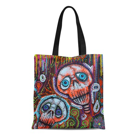 SIDONKU Canvas Tote Bag Colorful Graffiti Skull Crew Street Downtown City Graffity Reusable Handbag Shoulder Grocery Shopping Bags