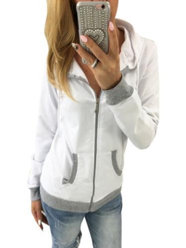 Women's Zip Up Hoodie Sweatshirt Sport Coat Jumper Sweater Long Sleeve Hooded Outwear Pullover Tops Casual