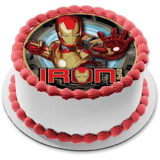 Cool Marvel Iron Man Logo Edible Cake Topper Image Walmart Com Birthday Cards Printable Trancafe Filternl