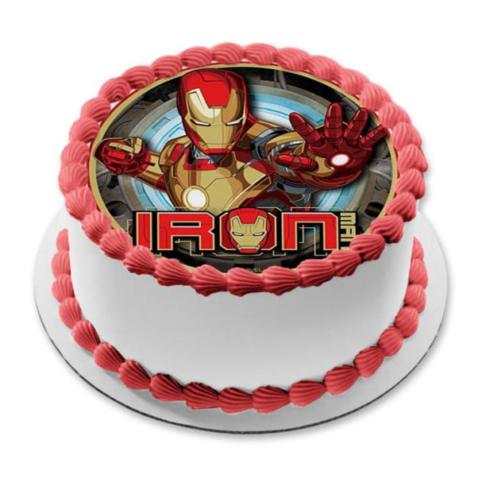 Brilliant Marvel Iron Man Logo Edible Cake Topper Image Walmart Com Funny Birthday Cards Online Elaedamsfinfo