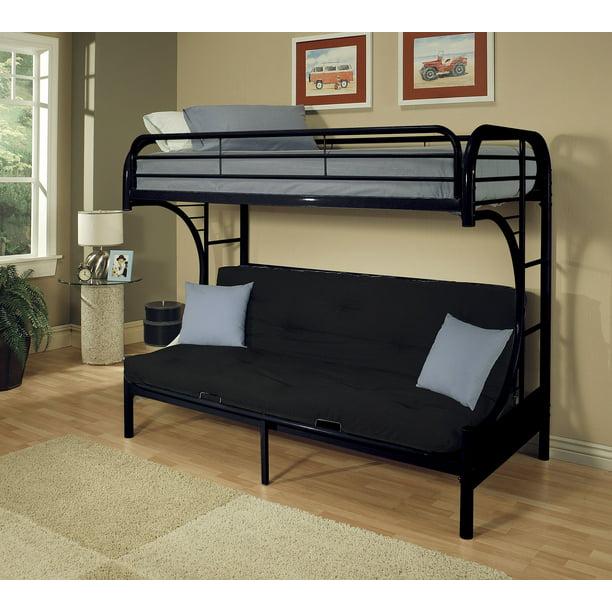 Homeroots Twin Full Futon Bunk Bed Black Metal Tube Walmart Com