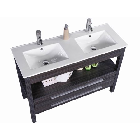 48 inch freestanding modern veneer double sink bathroom - Freestanding double bathroom vanity ...