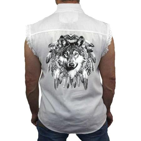 Men's Sleeveless Denim Shirt Indian Wolf Biker (Denim Biker Vests)