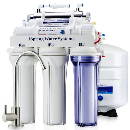 iSpring Reverse Osmosis Water Filter System w/ 11W Flow-sensor UV Sanitation Stage - 75GPD 5-stage RCC7U - Ideal for Well (Best Home Well Water Filtration Systems)