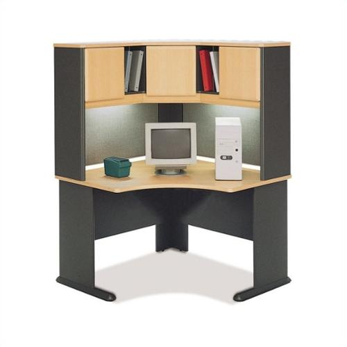 "Bush BBF Series A 48"" Corner Computer Desk with Hutch in Beech"