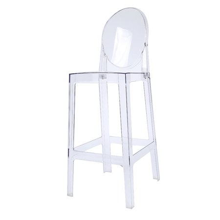 2xhome 30 Seat Height Clear Transpa Contemporary Modern Glam Barstool Side Chairs Molded Plastic