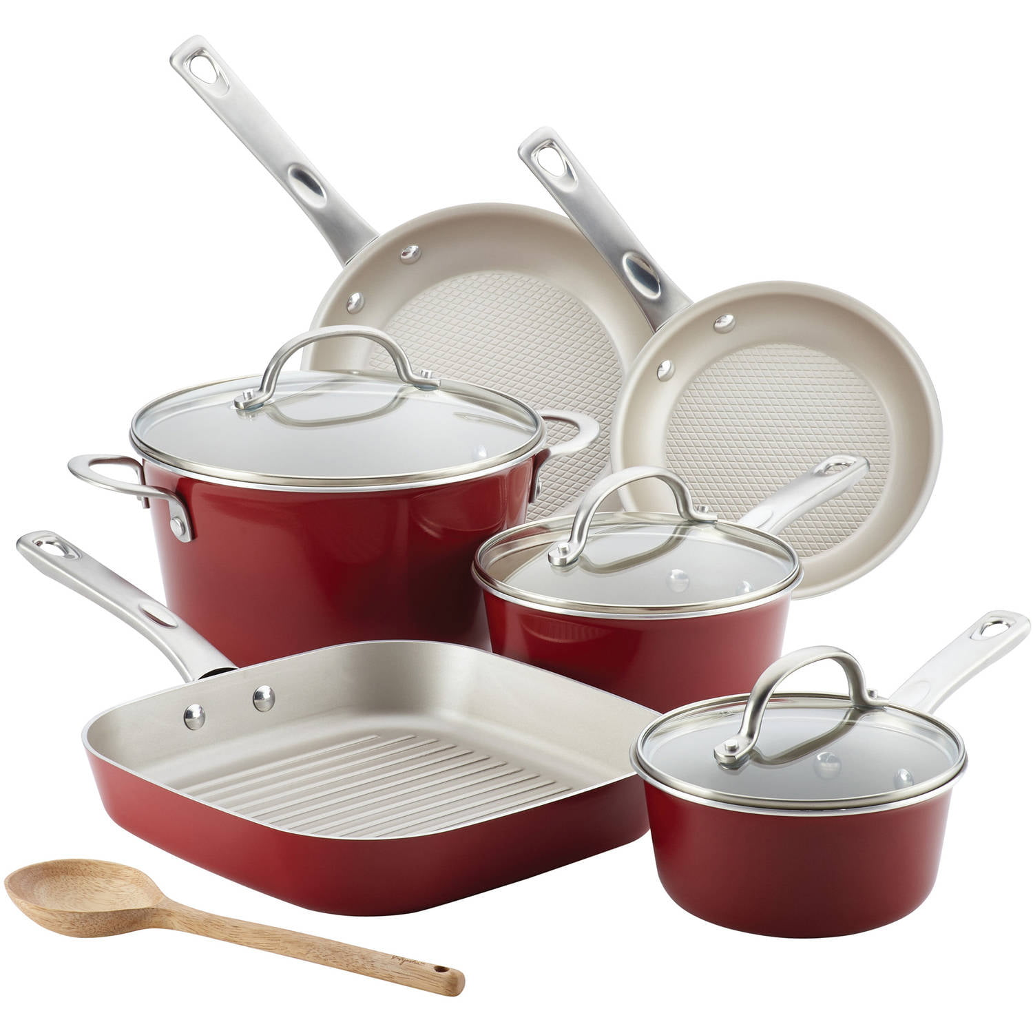 Ayesha Curry Porcelain Enamel Nonstick 10-Pc Cookware Set, Sienna Red by Meyer Corporation