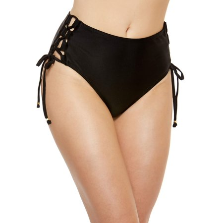 Time and Tru Womens high-waisted solid bikini brief swim bottom w/lace-up detail