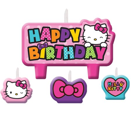 Hello Kitty Rainbow Birthday Candle Set (Hello Kitty Centerpieces)