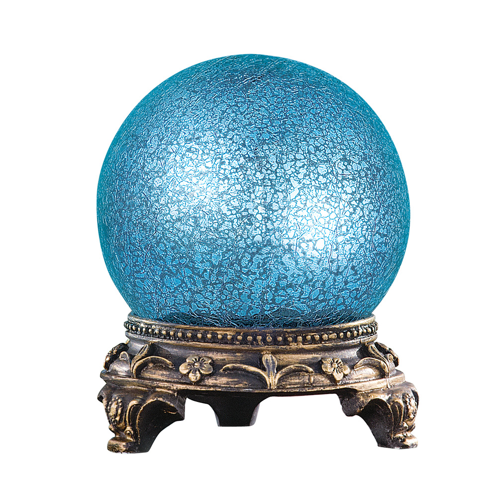 Sparkling Mercury Glass Gazing Ball Sphere Round Table Lamp, Blue