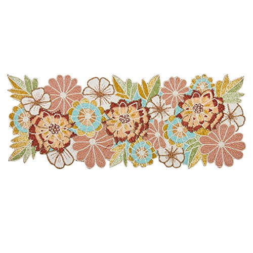 Nantucket Home Spring Flowers Beaded Table Runner, 36 Inch X 13 Inch