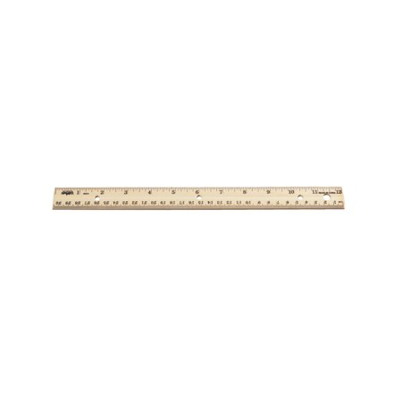 School Smart Double Beveled Edge Wood Ruler - Inch and Metric with (3) Hole Punched for Binder, 12 in L, Pack of 12 Deep Double Edge Punch