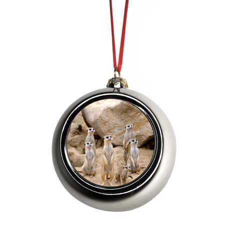 Meerkat Family Wildlife Ornaments Silver Bauble Christmas ...