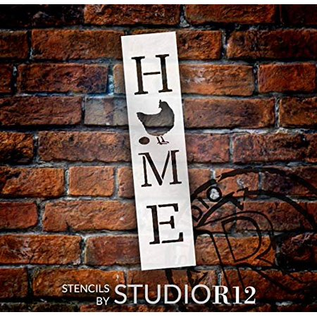 Home with Chicken - Hen & Egg - Vertical Stencil by StudioR12 | Reusable Mylar Template | Use to Paint Wood Signs - Pallets - Banners - DIY Country Decor - Select Size (2.5
