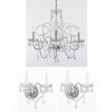 Clear Flush Sconce (Harrison Lane T40-101 3 Piece Chandelier and Wall Sconce Set)