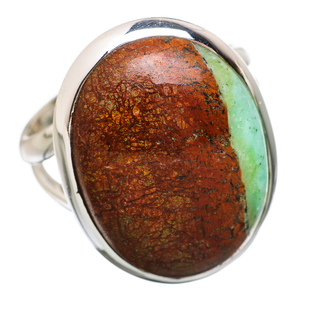 Ana Silver Co Boulder Chrysoprase 925 Sterling Silver Ring Size 6.25 Handmade Jewelry RING848961 by Ana Silver Co.