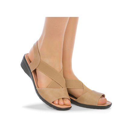 Padded Insole Wedge Heel Stretch Sandals with Elasticized Straps, 6, Tan