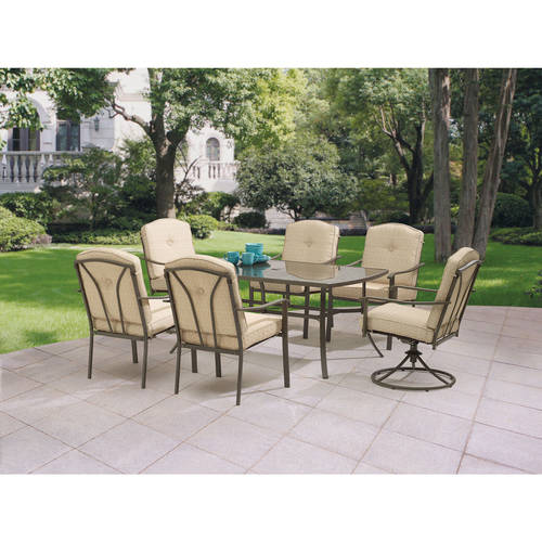 Mainstays Woodland Hills 7-Piece Dining Set, Tan