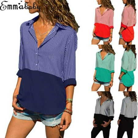 252f09327 Emmababy - Fashion Women Ladies Long Sleeve Loose Blouse Summer V Neck  Casual Shirt Tops - Walmart.com
