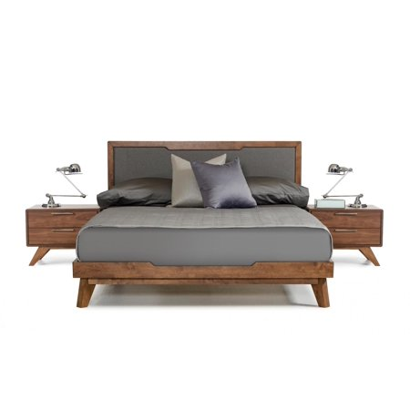 Walnut Veneer Mdf - Grey Linen Fabric Walnut Veneer Finish King Platform Bed VIG Nova Domus Soria