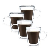 JavaFly Double Wall Glass Mug, Set of 4, Latte Cups, Tea Tumbler, Glassware Drinking Glasses, Espresso Cups 8.6 oz