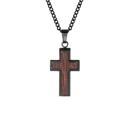 Stainless Steel Jewelry, Wood Inlay Cross Religious Black IP Pendant, 24 Chain Necklace (Wood Cross Necklace)