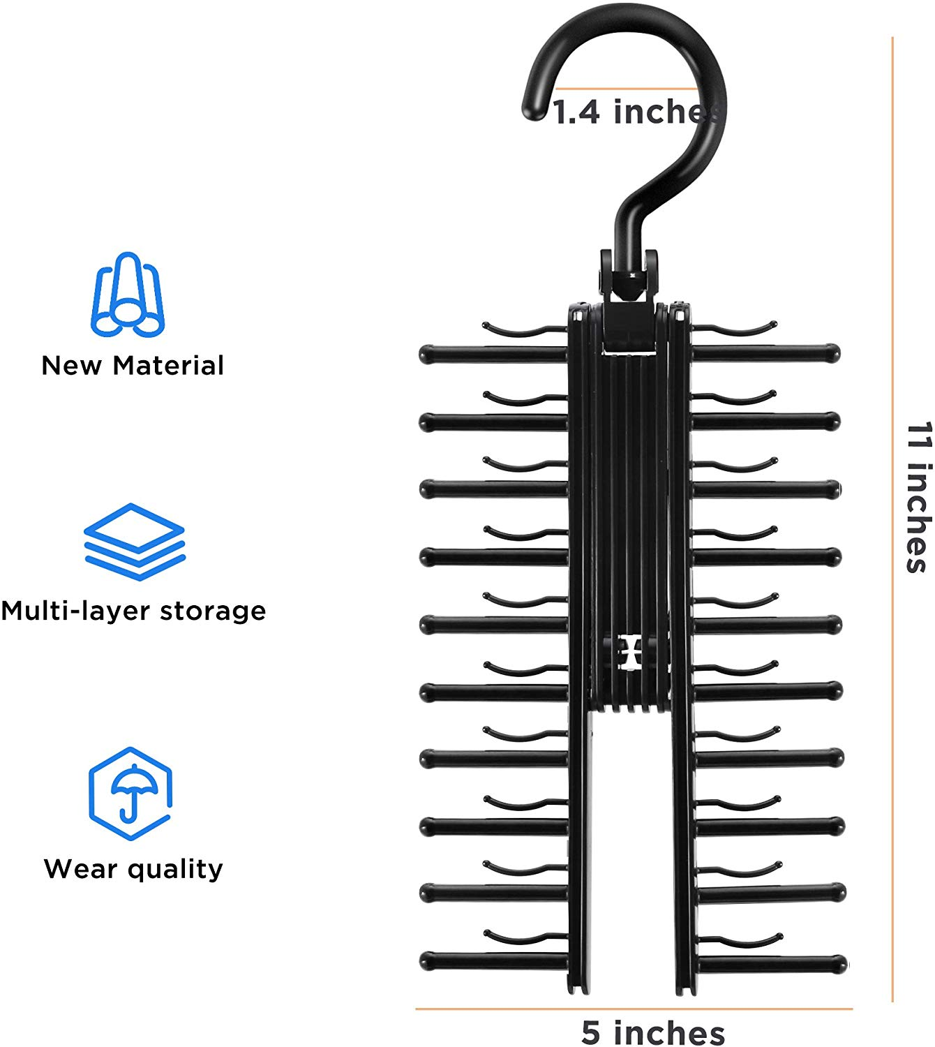 Black NIUBI from US Shipping!! 2 PCS See Everything Cross X 20 Tie Rack Holder,Rotate to Open//Close Tie and Belt Hanger with Non-Slip Clips,360 Degree Swivel Space Saving Organizer