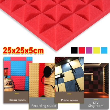1/5/6-Pack 10x10x2 inch Acoustic Foam Panels Soundproofing Foam Wedges Sound Insulation Studio Foam Tiles Wall Tiles Sponge Anti Noise Fire Retardant Tile For KTV