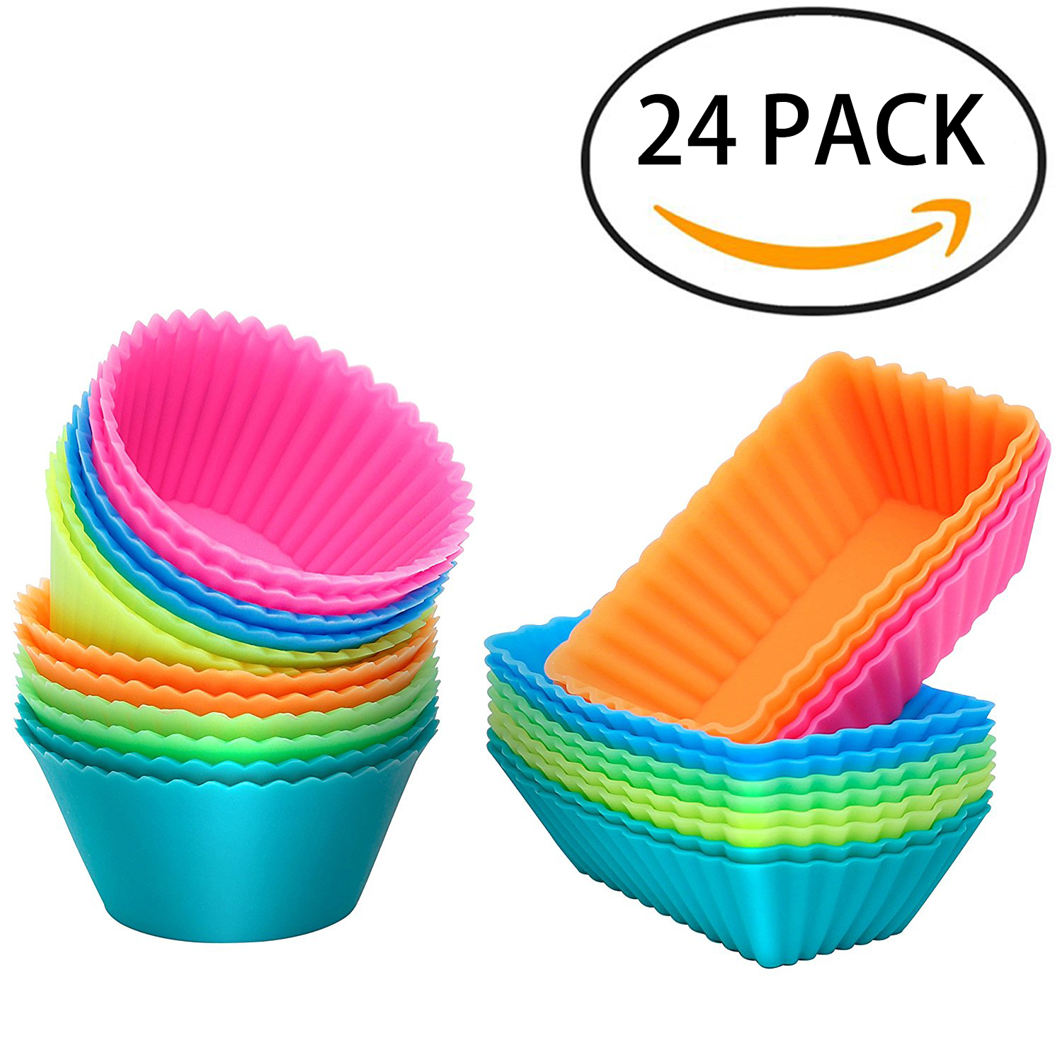 IPOW 24pcs Silicone Cupcake Liners Reusable Baking Cups Nonstick Easy Clean Pastry Muffin Molds, Rainbow Color