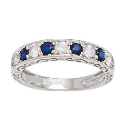 10k White Gold Sapphire and White Sapphire Vintage Style Anniversary Wedding Band