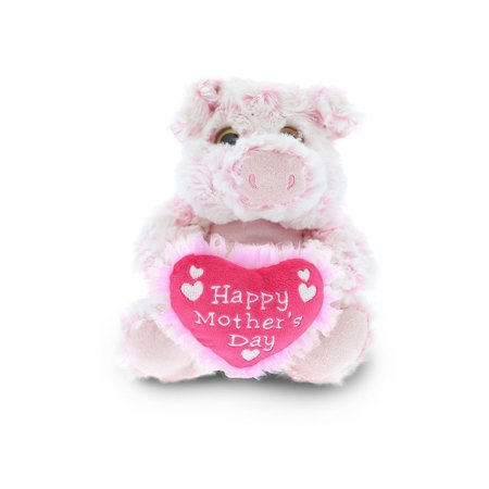 Dollibu Happy Mother's Day Stuffed Animal, Mom Heart Message Teddy - Sitting Pig](Happy Pug)