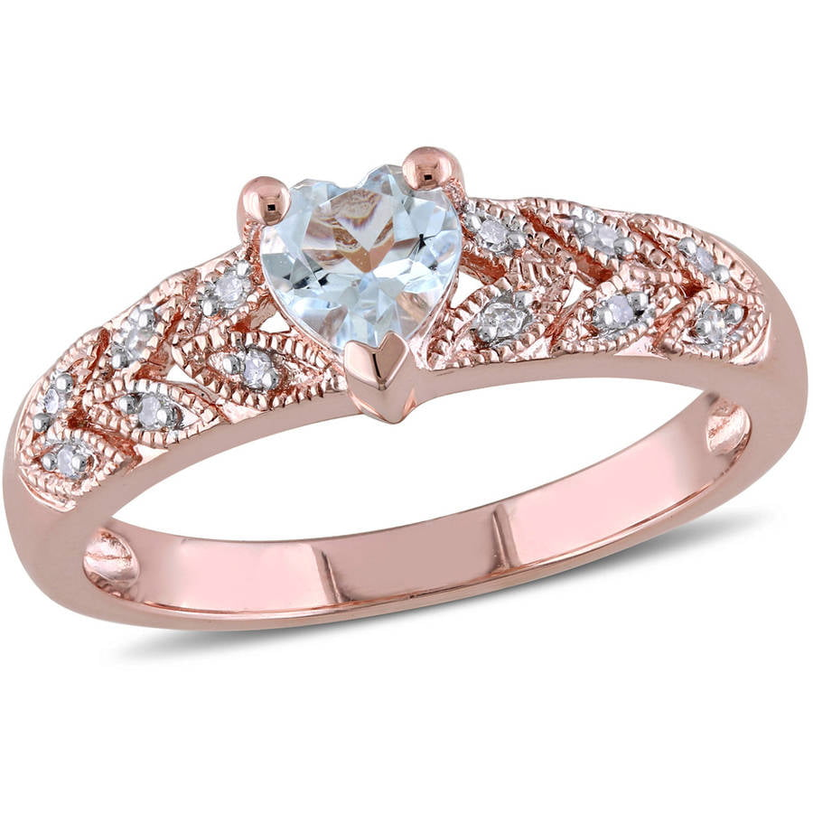 Tangelo 1 3 Carat T.G.W. Aquamarine and Diamond-Accent Pink Rhodium-Plated Sterling Silver Vintage Heart Engagement Ring by Tangelo