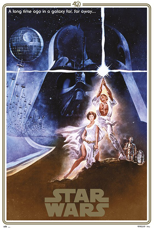 Star Wars Episode Iv A New Hope Movie Poster Print 40th Anniversary Gold Border Edition Regular Style A Size 24 X 36 Walmart Com Walmart Com