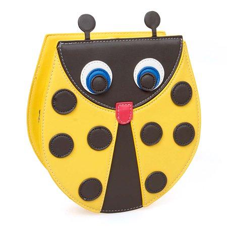 BMC Sunshine Yellow PU Faux Leather Cute Ladybug Shaped Shoulder Purse Clutch Handbag ()