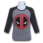 Deadpool tsdpdistsymragXL Deadpool Distressed Symbol Baseball Mens T-Shirt - Extra Large