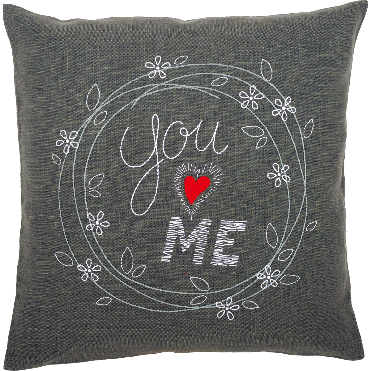 """You & Me Cushion Stamped Embroidery Kit, 16"""" x 16"""""""