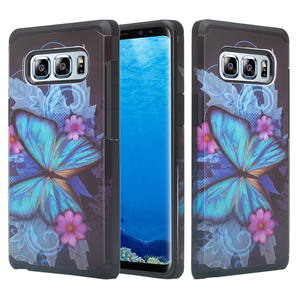 Samsung Galaxy Note 8 Case, Galaxy Note 8 Protective Cover Hybrid Dual Layer [Shock Resistant] Case for Galaxy Note 8 - Blue Butterfly